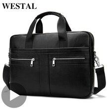 Westal épaule messager femmes hommes sac véritable mallette en cuir pour Document sac à main affaires mâle femme ordinateur portable A4 Portafolio