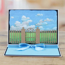 Naifumodo Metal Cutting Dies Door Fence Architecture Scrapbooking Background Die Cuts for Card Making Supplies Template
