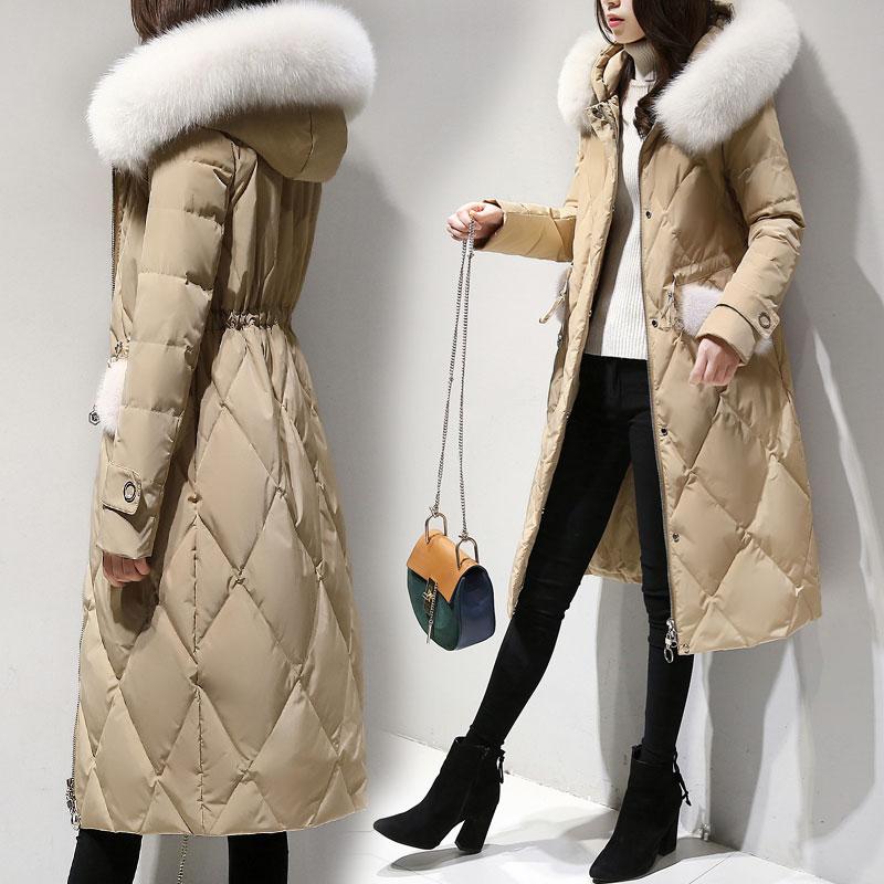 3a5caaaefcd8 Elegant Winter Duck Down Parka Womens Long Down Coats Jackets For Women  Outwear Long Hooded Warm