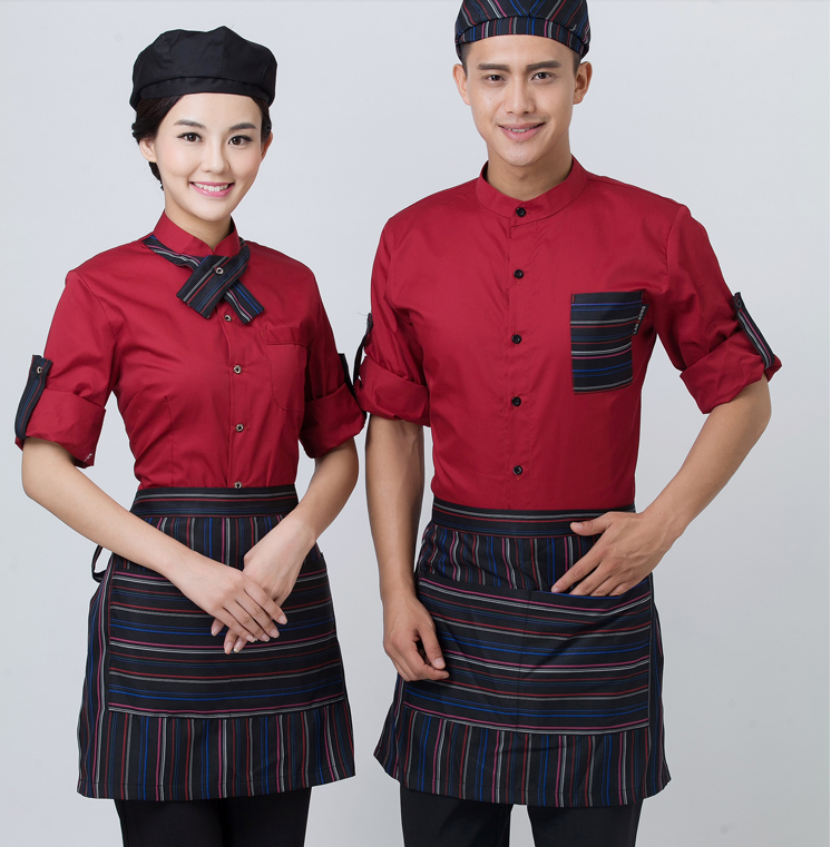 Autumn and Winter Waiter Clothing Hotel Waitress Uniforms Overalls Restaurant Long Sleeved Autumn Food Service Top with Apron