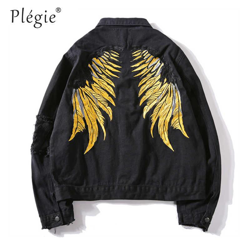 Plegie 2018 Hipster Men ปีกเย็บปักถักร้อย Denim แจ็คเก็ต Retro Streetwear Harajuku Ripped Slim fit สะโพกสะโพก Denim แจ็คเก็ตกางเกงยีนส์