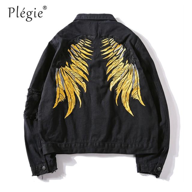 Plegie 2018 Hipster Men Wing Embroidery Denim Jackets Retro Streetwear Harajuku Ripped Slim fit Hip Hip Denim Jeans Jacket