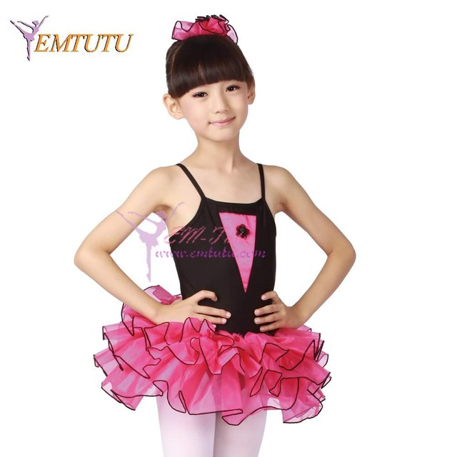 85c0b54eb Black Pink Child Leotard With Tutu Lycra Organza Kids Performance ...