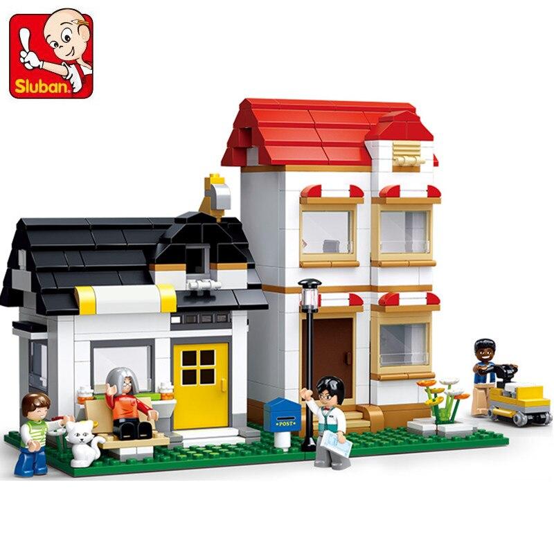 цена Sluban 431Pcs Friends Double Villas Sim City Apartment Toy Building Blocks 3D Construction Toys for Children