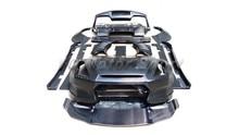Car Accessories FRP Fiber Glass BSP Style Body Kit Fit For 2008-2014 R35 GTR CBA DBA Hood & Bumper with LED Side Skirt Fender