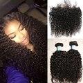Novo Laço frontal com feixes 3 pcs mongolian jerry enrolar o cabelo com 1 pcs frontal 1b # do cabelo humano weave extensões de navio livre