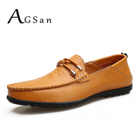 AGSan Hot Sell Men Leather Loafers Classic Mens Driving Shoes Slip On Leather Mens Moccasins Yellow Brown Black Handmade Loafers