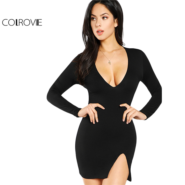 4bfa407d78 COLROVIE 2018 Plain Deep V Neck Long Sleeve Winter Mini Dress Black Slit  Front Form Fit Sexy Dress Women Short Party Dress