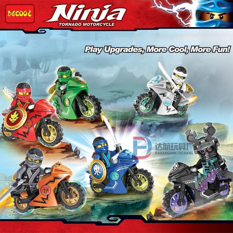 Single Sale Ninjagoe Motorcycle Compatible Mini Blocks Jay Lloyd Nya Skylor Zane Pythor Building Blocks Toys For Children