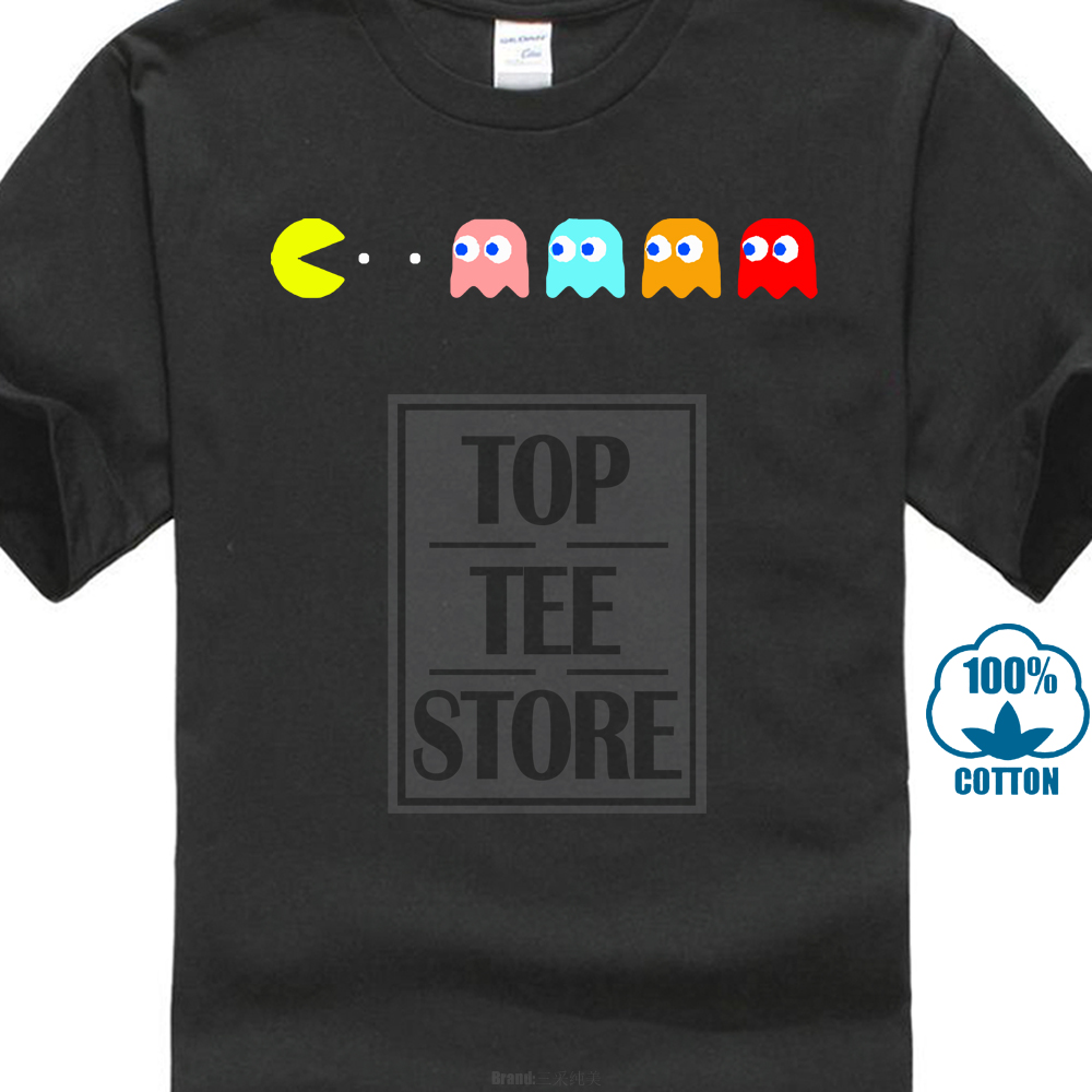 Shirts Homme Novelty 2017 Newest Funny  New Retro Gaming C64 Pacman & Ghosts Atari Video Games Cool 80S