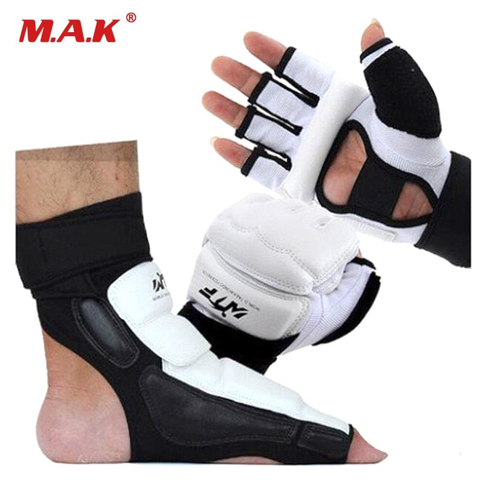 Egy készlet MMA kezek és lábvédők PU bőr fél ujj Taekwondo kesztyű lábvédő harci karate bokszkesztyű lábléc