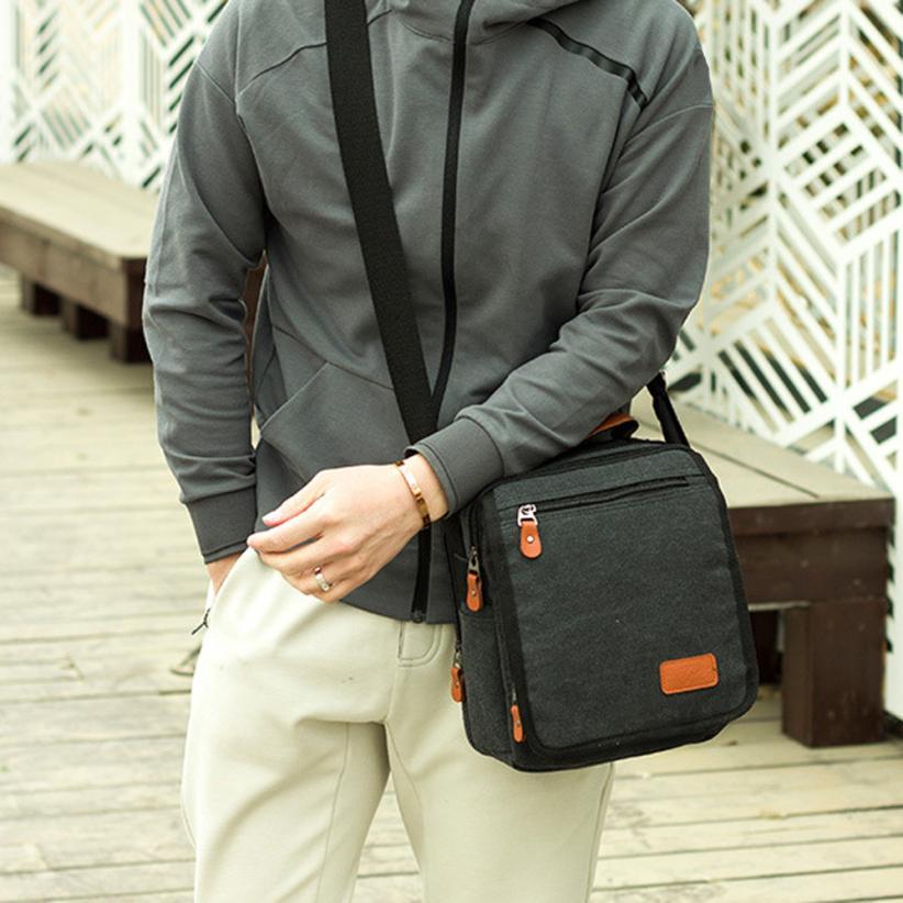 Для мужчин модные Ретро Бизнес холст сумка Для мужчин сплошной цвет молнии слинг портфель сумка # W