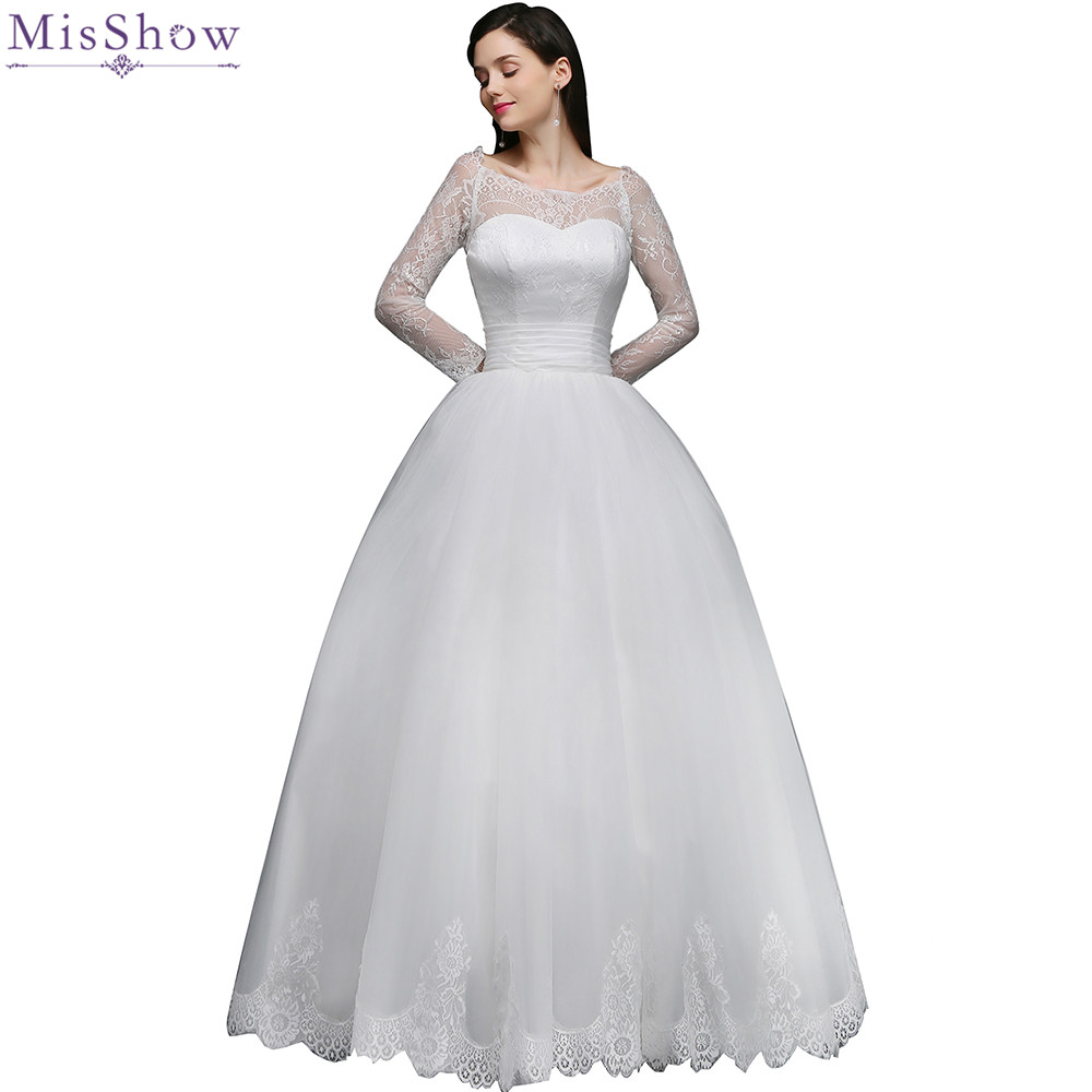 MisShow 2018 Retro Lace Appliqued Ribbon Wedding dress Customized Plus Size Ball Gown Bridal Dress 2 Colors Vestido De Noiva