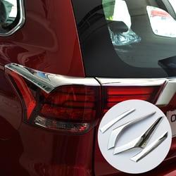 Dla Mitsubishi Outlander 2016 2017 plastik ABS stylizacji tylne światło brwi pokrywa wykończenia lampy tylne światła rama akcesoria 4 sztuk w Chromowane wykończenia od Samochody i motocykle na