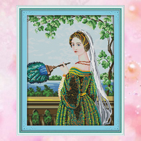 Joy Sunday Chinese crossstitch kits needlework set girl dress DMC14CT11CT cottonfabric deco painting gift art factory wholesale
