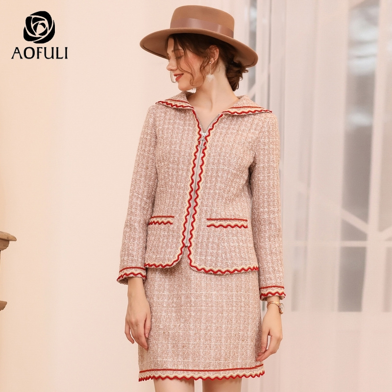 AOFULI Plus Size England Style Skirt Suits Two Pieces Women Set Long Sleeve Winter Woolen Twinset