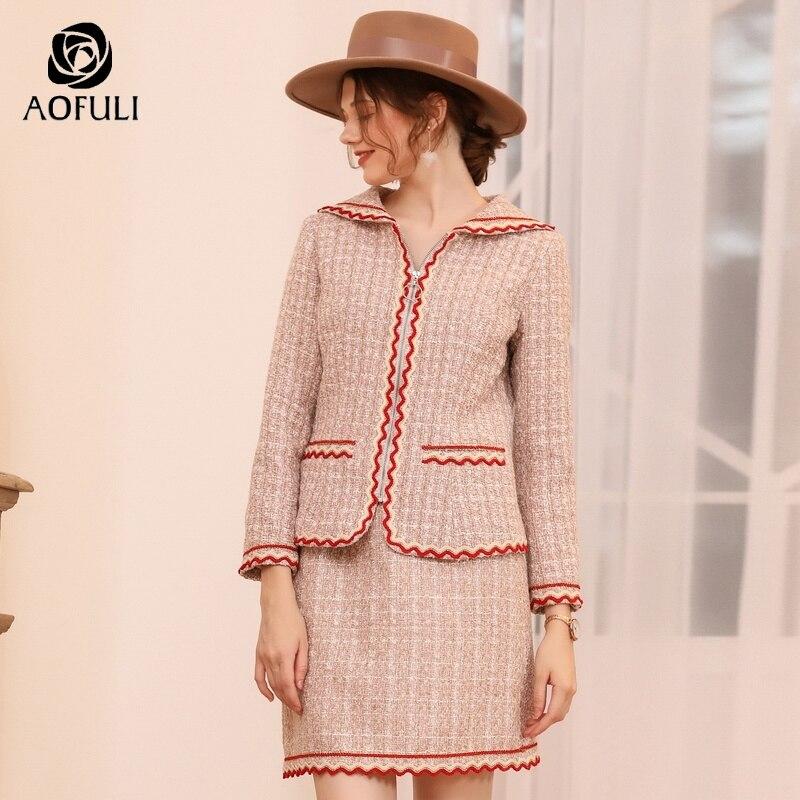 Kadın Giyim'ten Kadın Setleri'de AOFULI Artı Boyutu İngiltere Tarzı Etek Takım Elbise Iki Adet Kadın Set Uzun Kollu Kış Yün Twinset Fermuarlı Ceket L 4XL 5XL A3753'da  Grup 1