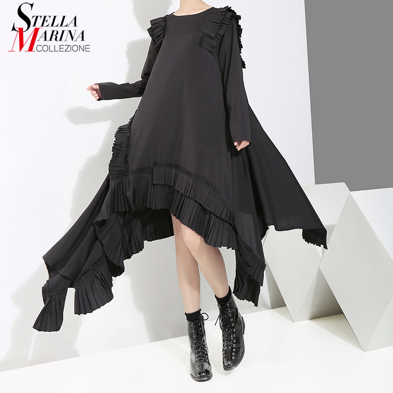 New 2019 Women Solid Black Long Asymmetrical Dress Plus Size Ruffles Stitched Female Stylish Loose Dress