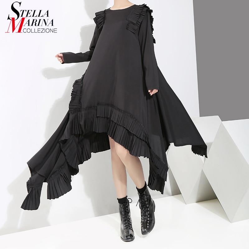 Nowy 2019 kobiety solidna czarna długa sukienka asymetryczna Plus rozmiar Ruffles szyte kobiece stylowe luźna sukienka na co dzień styl szaty 3894 w Suknie od Odzież damska na AliExpress - 11.11_Double 11Singles' Day 1