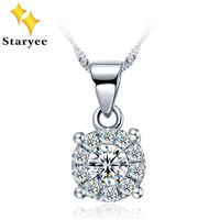 1 Carat Effect Fashion Halo Style Pure 18K Solid White Gold Moissanite Engagement Pendant Necklace For