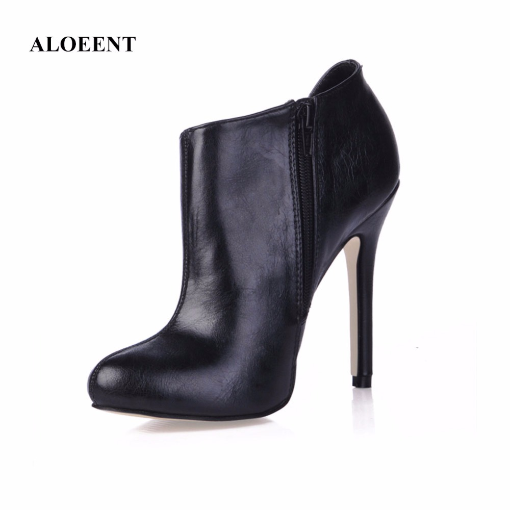 ALOEENT New Women Shoes Slip-On Retro High Heel Ankle Boot Elegant Casual Short Boots Fe ...