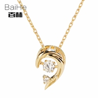 BAIHE Solid 14K Yellow Gold 0.07ct Certified H/SI Genuine Natural Dancing Diamond Engagement Women Trendy Fine Jewelry Necklaces