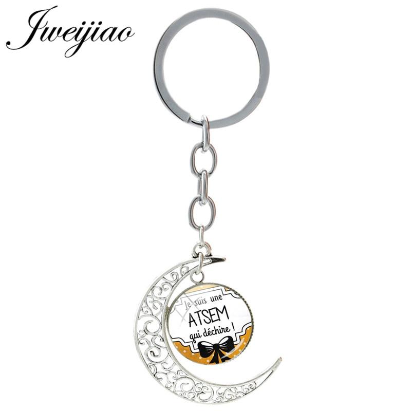 Брелок JWEIJIAO с французским надписью Je Suis Une Atsem Qui Dechire, стеклянный брелок, Подвесные Брелки с Луной, стеклянный кабошон JE24