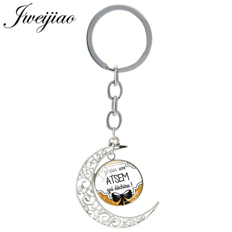 Jweijiao francês je suis une atsem qui dechire encantos chaveiro de vidro lua pingente chaveiros de vidro cabochão jóias je24