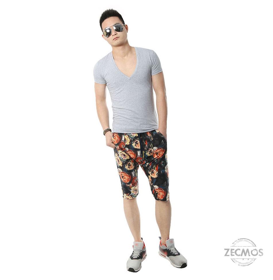 Zecmos Deep V Neck Sexy Men T-Shirt Vintage Short Sleeve Solid Color Muscle Fit T Shirt Men Top Tees Fashion 10