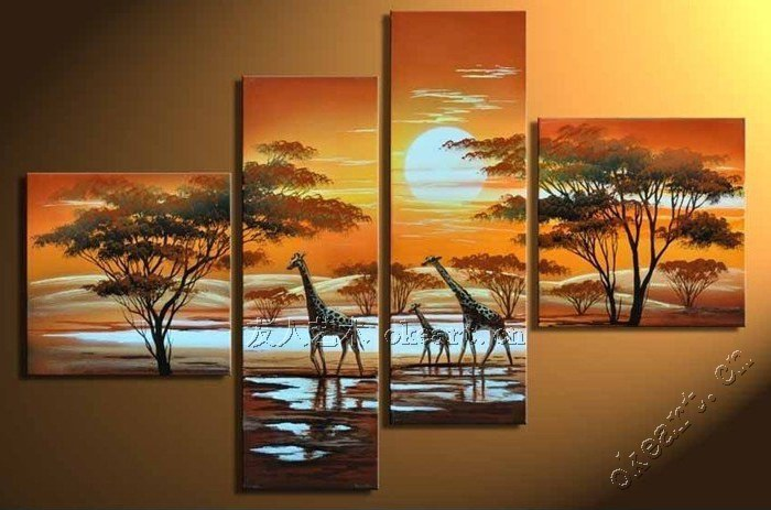 The deer dance fun home hand painted oil painting abstract ...
