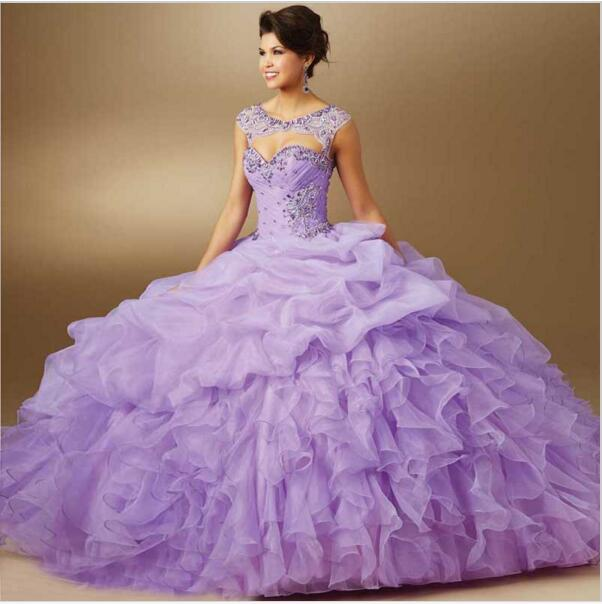 47ef9bf6c94 2019 Stunning Amazing Lilac Lavender Ball Gown Ruffled Crystal Quinceanera  Dresses Vestidos de Quinceanera Dress for