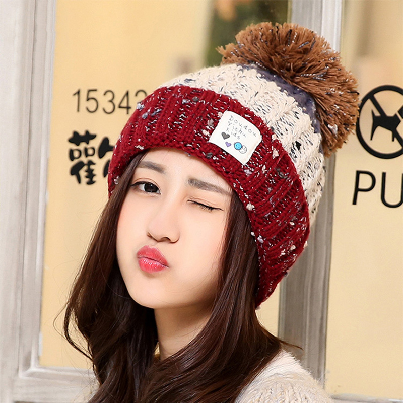 c5cbdf2450e New Fashion Casual Winter Women s Color Matching Velvet Warm Thickening  Wool Hat Han Edition Heavy Hair Ball Knitted Cap-in Skullies   Beanies from  Apparel ...