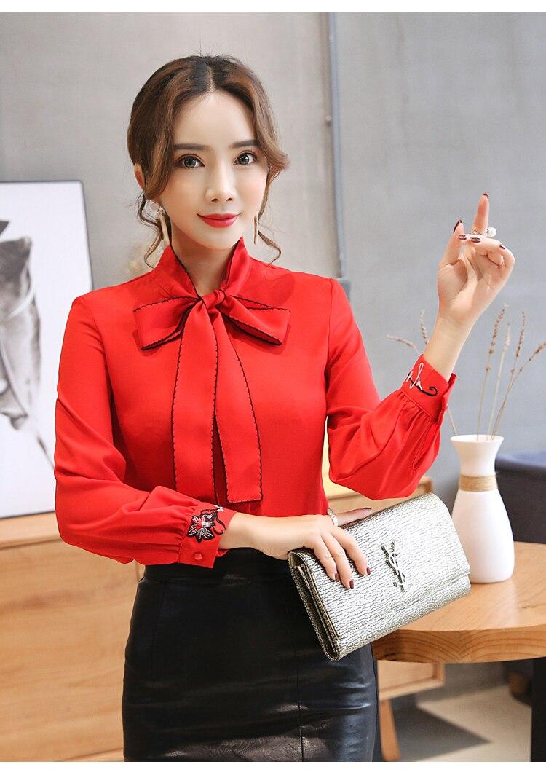 Oficina Mujer Moda Larga Gasa Blanca 60 Tops Y Blusas Ropa Mujeres Trabajo Rojo De 0726 Manga blanco Blusa Camisas Camisa Las KYddSwqr