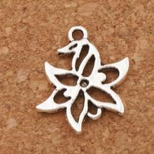 Lucky Flower Charm Beads 50pcs Antique Silver Pendants L312 15x20.3mm Jewelry DIY
