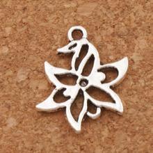 Lucky Flower Charm Beads 50pcs Antique Silver Pendants L312 15x20.3mm Jewelry DIY