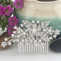 Bella Fashion Bridal Hair Comb Clear Austrian Crystal Head Piece For Women Silver Wedding Hair Piece