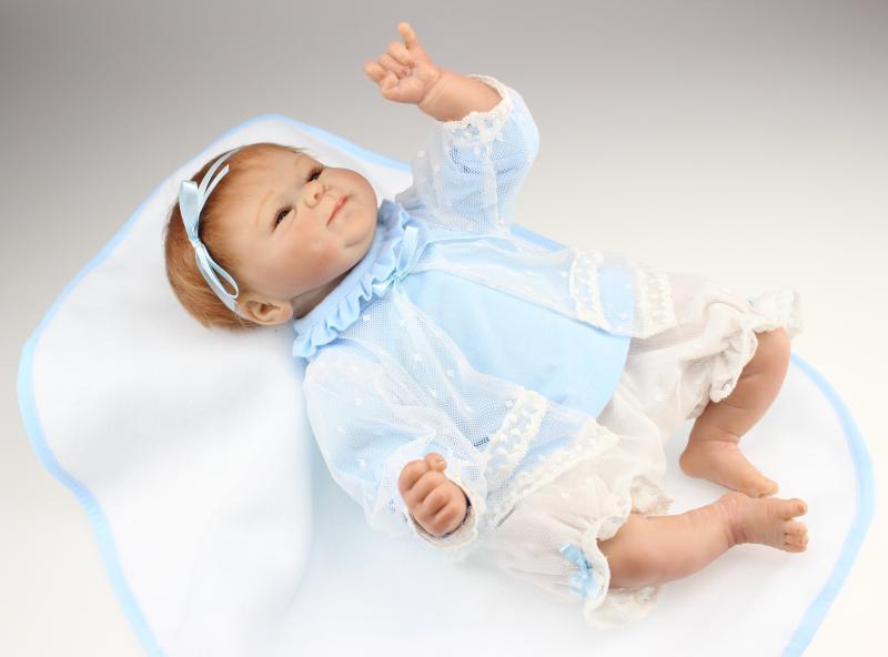 Nicery 16 pouces 40 cm Reborn bébé poupée en Silicone souple réaliste jouet cadeau pour enfants sourire bébé belle tête bleue-robe fleur