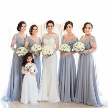 Elegant A Line V Neck Lace Long Sleeve Bridesmaid Dresses 2016 Long Chiffon Maid of Honor Prom Gowns Plus Size Custom Made BR66