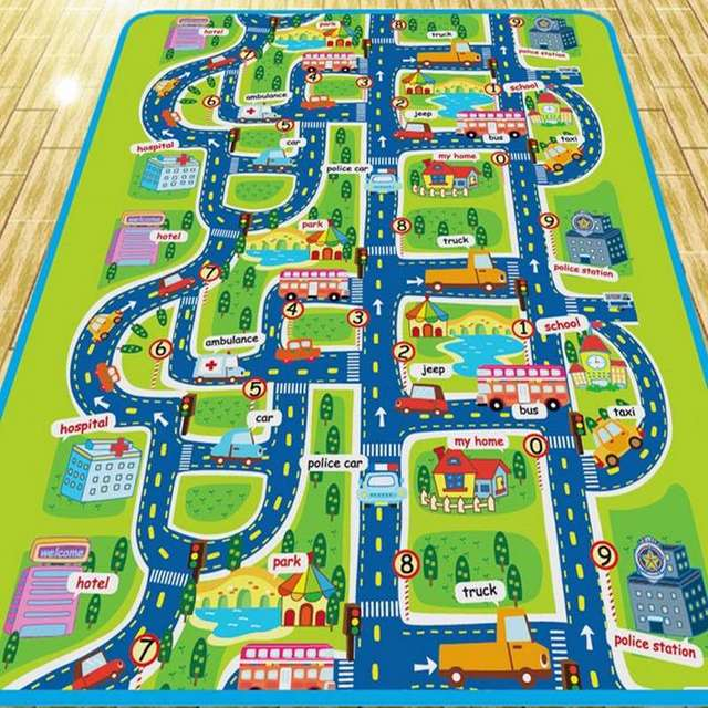 100% New And High Quality Fashion Style Floor Rug Kid City Life Play Carpet  Roads