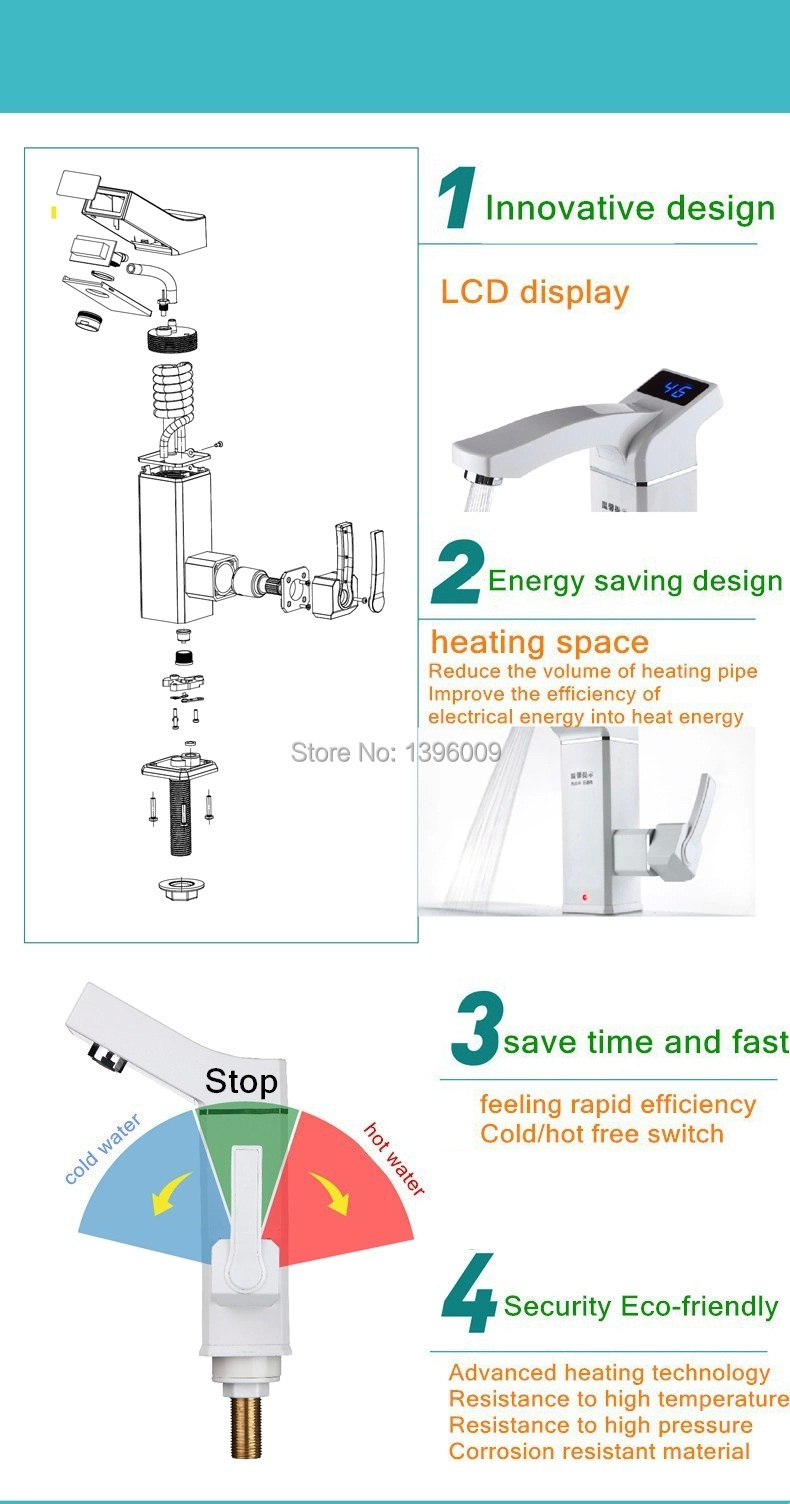 elektrischer wasserhahn durchlauferhitzer warmwasser f. Black Bedroom Furniture Sets. Home Design Ideas