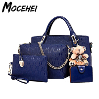 Women Bag Top Handle Female Casual Girls Messenger Handbag 4 Pcs Set PU Leather Composite Bags Bolsos Mujer LY018