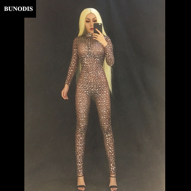 Jumpsuits Fashion Gray Silver Rhinestones Jumpsuit Long Sleeves Stretch Sexy Bodysuit Stage Performance Party Celebrate Nightlcub Outfit Clearance Price
