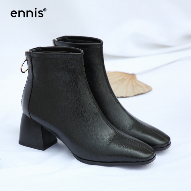 1286434d008d Detail Feedback Questions about ENNIS 2018 NEW Women Thick Heel Ankle Boots  Genuine Leather Back Zip Boots Black Shoes Autumn Chunky High Heel Short  Boots ...