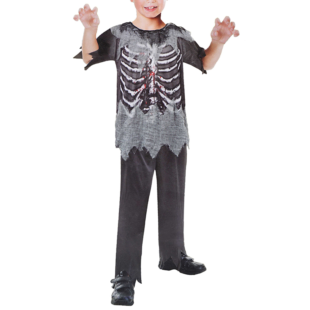 Scary Bloody Skeleton Halloween Carnival Holidays Zombie Cosplay Costume For Boys Children Kids Top Pants