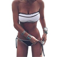 NIDALEE Women Girl Solid Color Bandage Push Up Bikini Set Padded Bra Triangle Swimsuit Halter Swimwear