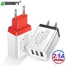 ESSIEN 3 Port USB Charger EU US 5V 2A Fast Charger Adapter F