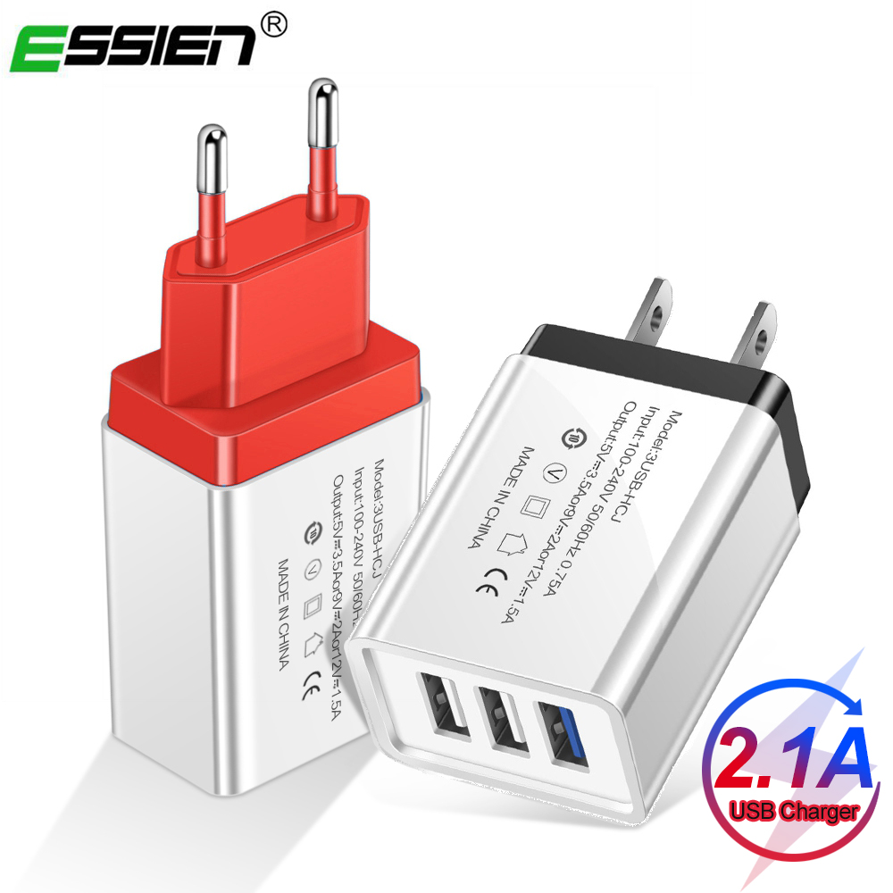ESSIEN 3 Port USB <font><b>Charger</b></font> EU US <font><b>5V</b></font> 2A Fast <font><b>Charger</b></font> Adapter For iPhone XS X 8 7 Samsung S10 S9 Huawei Xiaomi Mobile Phone <font><b>Charger</b></font> image