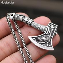 Nostalgia Wolf And Raven Slavic Amulets Talismans Viking Odin Axe Necklaces & Pendants Norse Vikings Jewelry Turkish Men Wicca norse vikings amulet pendant necklaces hammer of thor mjolnir pendants sweater chain necklace animal wolf head viking jewelry