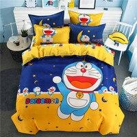 popular doraemon anime bedding set queen full size duvet cover sheet pillow case bed linen set