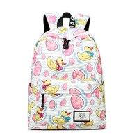 Vrouw Rugzak Geel eend patroon Kinderen Schooltas Back Pack Polyester waterdichte Tassen Voor Tienermeisjes Laptop knapzak
